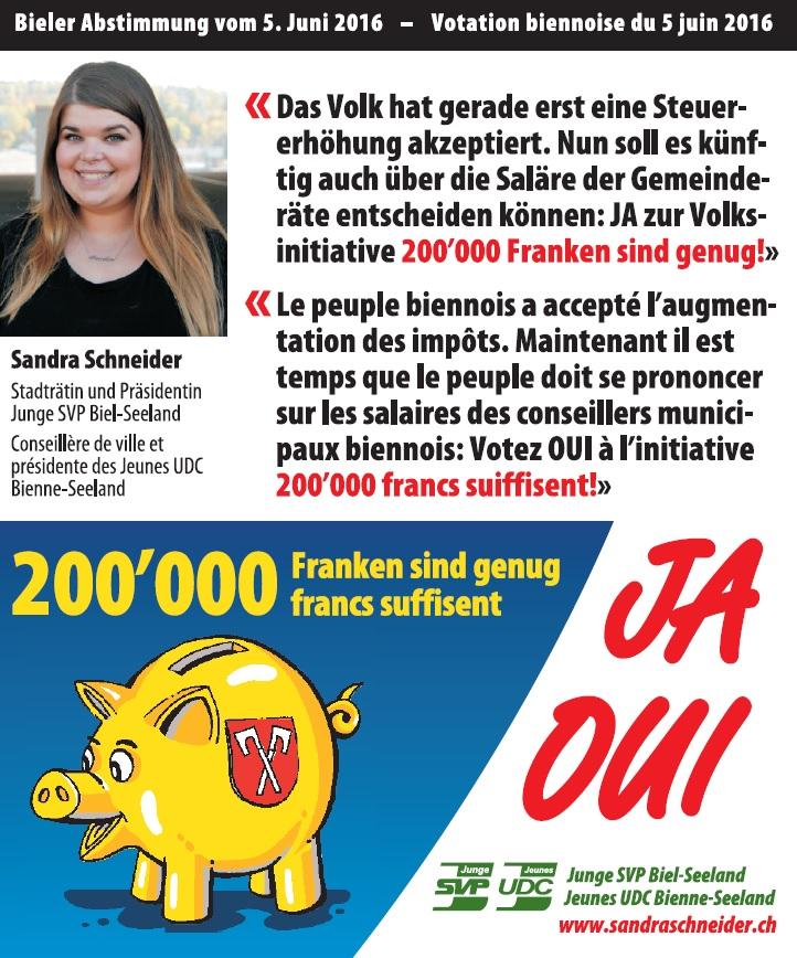 """JA zur Bieler Volksinitiative """"200'000 Franken sind genug!"""""""